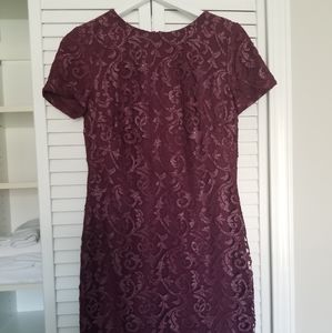 Lauren wine color sheath dress